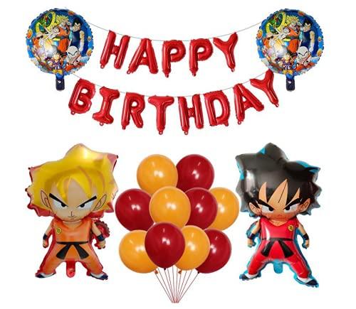 Decoración de Globos de Fiesta de Dragon Ball, Decoración de Fiesta de Cumpleaños para Niños, Globos de Papel de Aluminio de Dibujos Animados de Dragon Ball Goku de cumpleaños de Dragon Ball