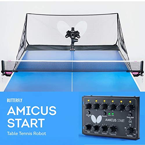 Butterfly Amicus Start Table Tennis Robot—Fantastic Ball Launcher/Thrower/Shooter for Your Ping Pong Table—Free Remote and Carry Bag—Play Or Practice Ping Pong Anytime for As Long As You Want