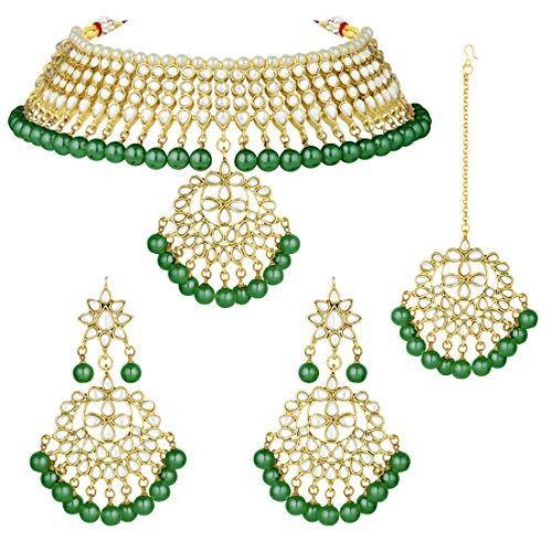 Aheli Indische Hochzeitskleidung Faux Kundan Halskette mit Maang Tikka Set ethnischer Modeschmuck für Frauen