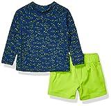 Amazon Essentials 2-Piece Long-Steeve Rashguard and Trunk Rash Guard Set, Blue Shark, 18M