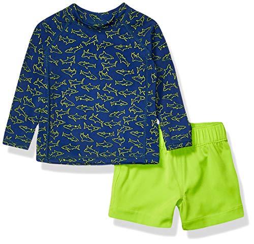 Amazon Essentials UPF 50+ Baby Boy's 2-Piece Long-Sleeve Rashguard and Trunk Set, Blue Shark, 9M
