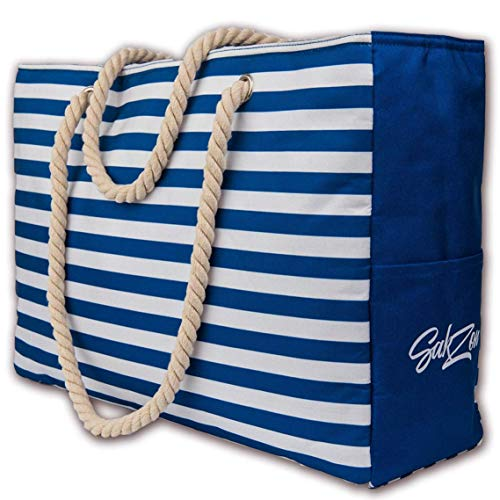 Beach Tote Bag | Large waterproof with zippered top and cotton rope handles (Blue)