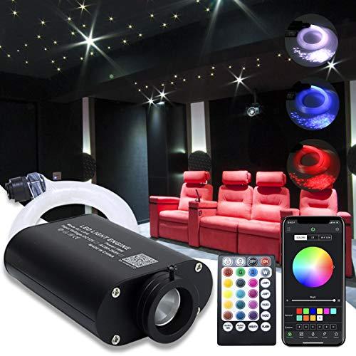 16W Fiber Optic Star Kit Ceiling Light,APP Controlled 28 Keys Sound Sensor Musical RGBW Remote 0.75mm/0.03in 6.5ft/2m 150pcs