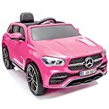 Aneken Kids Ride On Car with Remote Control, 12V Battery Powered Electric 4 Wheels SUV Electric Cars for Kids, Portable Handle for 12V Ride on Toys, Spring Suspension, MP3, LED Light, Horn, Pink