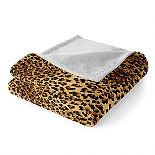 DGSGBAS Yellow Leopard 3D Printing Blanket for Kids and Adult,Soft Breathable Cozy Warm Microfibre Flannel Sherpa Blanket for Bed Sofa Travel Camping 150 * 200cm