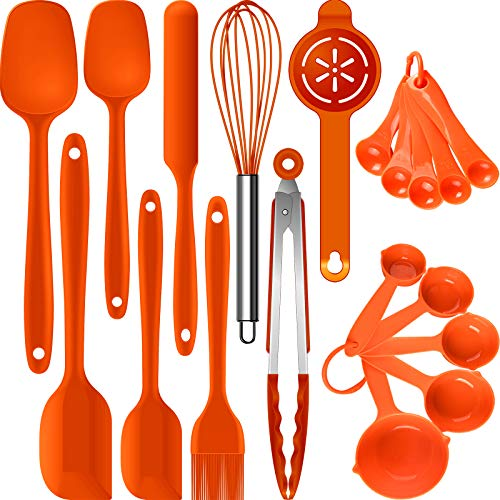 Silicone Spatula Set - Spatulas Heat Resistant,Rubber Spatula Set, Mixing/Baking Utensils,Cooking Spatulas for Nonstick Cookware,Kitchen Spatula Tools,BPA-Free. Dishwasher Safe.(Orange)