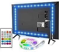 BASON LEDテープライト USB接続 4.5m テレビ照明 バックライト RGBテープライト リモコン付き 调色调光 高輝度 正面発光 SMD5050 両面テープ 間接照明 テレビ用・TV・PC照明・モニター・ホームシアター LED装飾ライト 雰囲気作り(非防水)