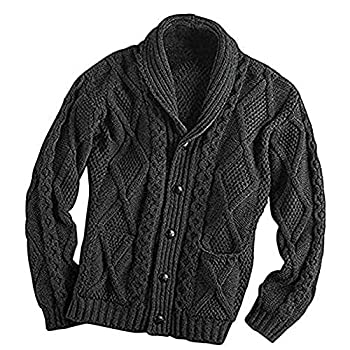 100% Irish Merino Wool Aran Button Cardigan – Fast delivery from Ireland  Extra Large Charcoal