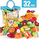 JoyGrow 32PCS Cutting Toys Pretend Food Fruits Vegetable Playset Educational Learning Toy Kitchen Play Boy Girl Kid with Handbag Packing