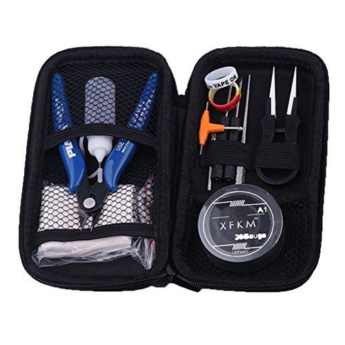 Yeleo Trosetry E Zigarette Tasche, E Zigarette DIY Tool Kit mit Zangen/Pinzette / 1,5 mm-3,5 mm Wickelwerkzeug für RDA/RBA Zerstäuber/Kleine Stahlbürste/Coil Kit für Elektronische Zigarette (H05)