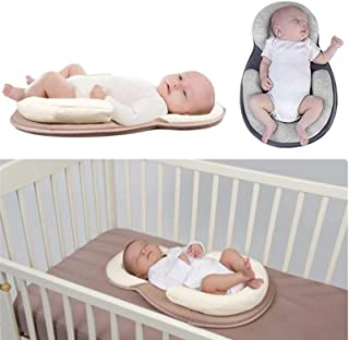 Portable Baby Pillow Baby Crib Mattress Head Support Anti-Rollover Cosy Positioning Pad for Newborn and Infant (Beige)