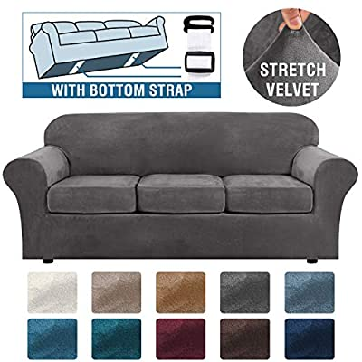 H.VERSAILTEX Modern Velvet Plush 4 Piece High Stretch Sofa Slipcover Strap Sofa Cover Furniture Protector Form Fit Luxury Thick Velvet Sofa Cover for 3 Cushion Couch, Machine Washable(Sofa,Gray)