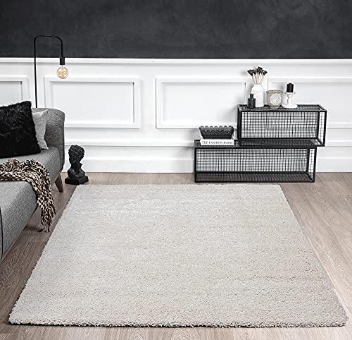 Port Moderner Hochflor Shaggy Wohnzimmer Teppich Soft Garn Einfarbig Creme Größe: 120x160 cm