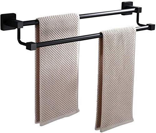 Square Black Matte Towel Bars 23.6 Inch Stainless Steel Towel Holder Wall Mounted Contemporary Towel Rack Bathroom (E2)