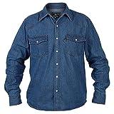 Duke London Chemise de camionneur/western en jean délavé «stone washed» Manches longues -  Bleu - X-Large