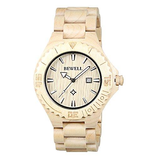 BEWELL uomo orologio automatico data Eco in legno naturale fatta a mano (stile B bianco)