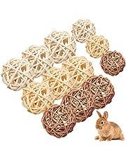 WELLXUNK Rattan Balls 12 Stück Kleintiere Kauspielzeug Vogel Kauspielzeug,für Kaninchen,Papagei,Chinchillas,Hamster,Zwergkaninchen