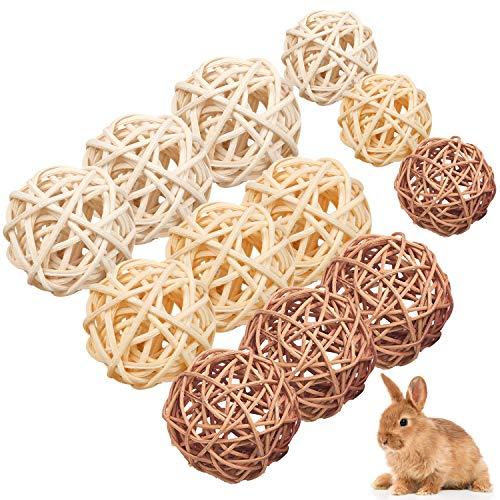 WELLXUNK 12 Stück Kaubälle, Kleintiere Kauspielzeug, Grasspielzeug für Kaninchen Meerschweinchen Chinchilla Hasen, Natürliche Bälle Leckereien geflochten Strohhalm lustiges Spielzeug für Kleintiere