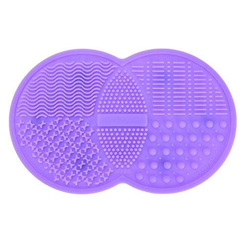 Tapis de nettoyage à brosse de maquillage, Cosmétique Brosse Cleaner Pad en silicone à laver Outil Scrubber Ventouse, Violet