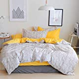 VM VOUGEMARKET Yellow Duvet Cover Set Queen,Plaid Duvet Cover with 2 Pillow Shams - Hotel Quality 100% Cotton - Luxurious, Comfortable, Breathable, Soft and Durable (Queen, Style 8)