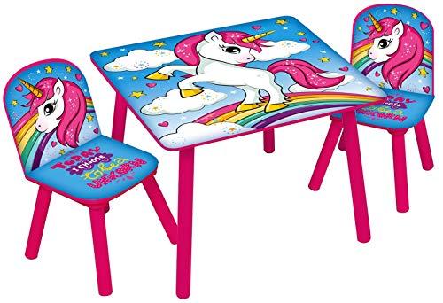 Juego de mesa y sillas de madera para niños - muebles de sala de juegos para interiores y infantiles. Kids Unicorn (Multicoloured) Table & 2 Chairs Set
