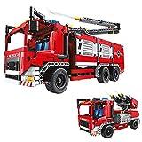 Think Gizmos TG901 Bloques de Construcción Niños – Camión de Bomberos Juguete – Construye tu Propio Camión de Bomberos - 1288 Piezas y Bomba de Agua de Verdad – 2 Camiones Grandes de Juguete