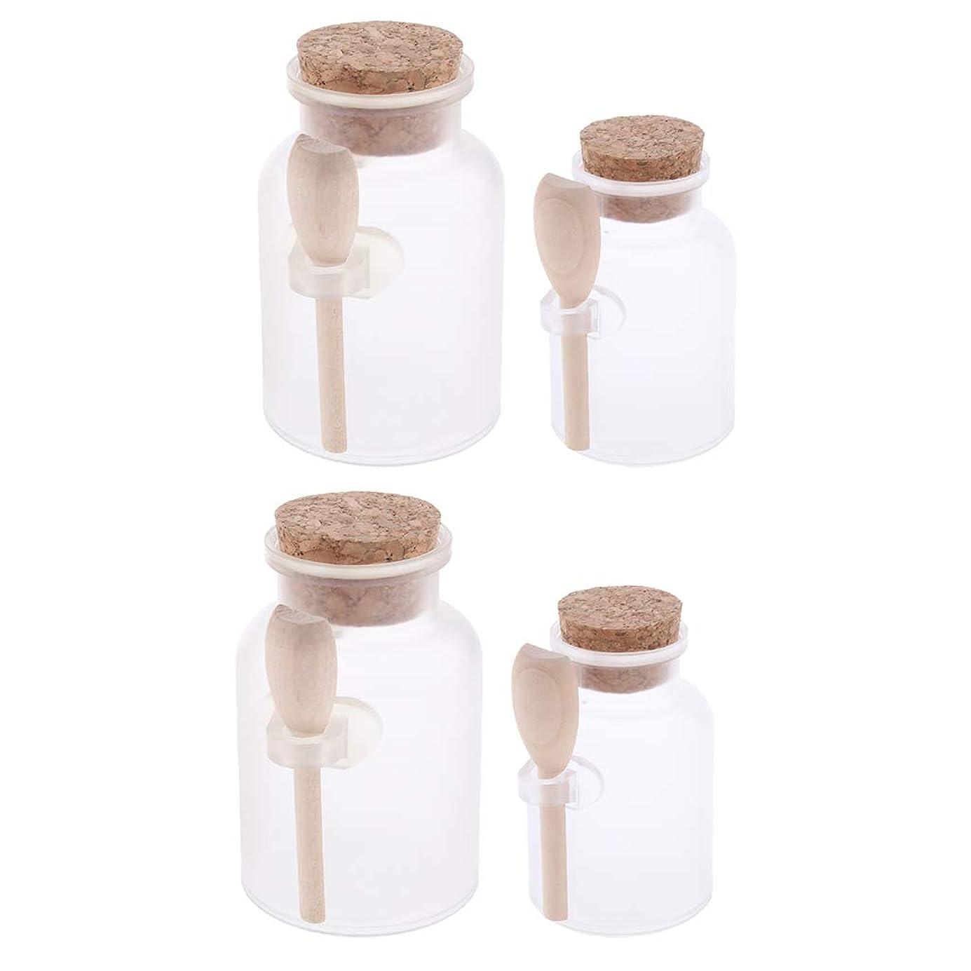 合法重要ハンカチBaoblaze 4個 円形 クリーム瓶 アロマボトル バスソルト 化粧品 コスメ容器 詰替え 広い開口 透明 スプーン付