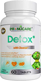 Detox with Cleanse: Weight Management by PRONUCARE, Advance Daily Fiber, Regularity & Digestive Health, Weight Loss & Body Cleanse, 60 Tablets