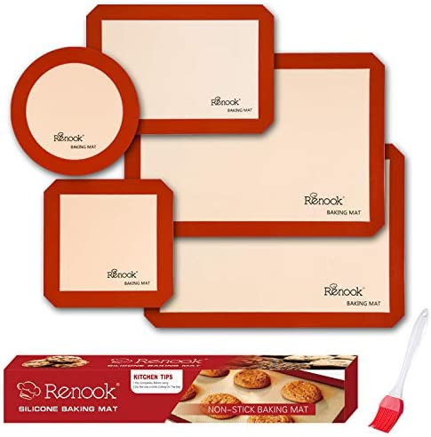 RENOOK Silicone Baking Mats Set of 5 2 Half Sheets Mats 1 Quarter Sheet Liner 1 Round 1 Square product image