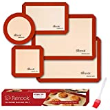 ★【Food Grade Silicone】 RENOOK baking mat is made of reinforced fiberglass and food grade silicone. Our baking mats feature a LFGB & PDA Certified 100% food grade safe silicone with fiberglass core Guarantee which means they are non-toxic, BPA-free, a...