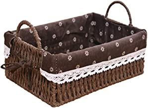 YAYADU Storage Basket Paper Rope Hand Weave Finishing Box Linen Cotton Lined High Capacity Fruits Vegetables Egg Toy Cloth...