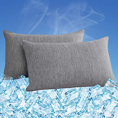 COISINI Cooling Pillowcase, 2 Pack Cooling Pillow Cover with Japanese Cooling Fiber, Breathable, Soft, Eco-Friendly, Hidden Zipper Design, King Size(20x36 in) Grey