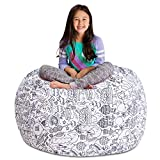 Posh Stuffable Kids Stuffed Animal Storage Bean Bag Chair Cover - Childrens Toy Organizer, X-Large 48' - Canvas Fun Creatures Coloring Fabric