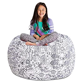 Posh Stuffable Kids Stuffed Animal Storage Bean Bag Chair Cover - Childrens Toy Organizer X-Large 48  - Canvas Fun Creatures Coloring Fabric