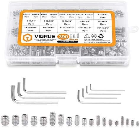 VIGRUE 390Pcs 4 40 to 3 8 16 SAE Hex Allen Head Socket Set Screws Grub Screw Bolts Assortment product image
