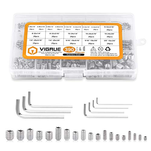 VIGRUE 390Pcs 4-40 to 3/8'-16 SAE Hex Allen Head Socket Set Screws Grub Screw Bolts Assortment Kit, 304 Stainless Steel Internal Hex Drive Cup-Point Screws with 7pcs Hex Wrenches