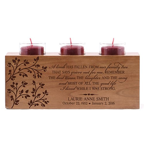LifeSong Milestones Personalized 3 Votive Tealight Candle Holder A Limb has Fallen Bereavement Sympathy Gift for Loss of Loved One 10x4x4