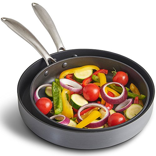 VonShef Premium Hard Anodized Aluminium Fry Pan - 24cm and 28cm Cookware Twin Set - Nonstick...