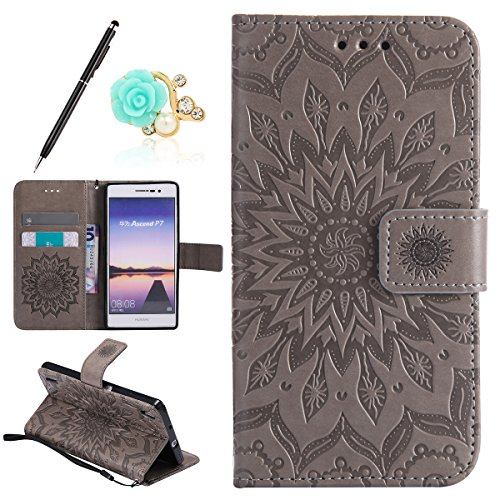 Funda Compatible con Huawei Ascend P7 Billetera PU,Uposao Slim Folio Flip Case...