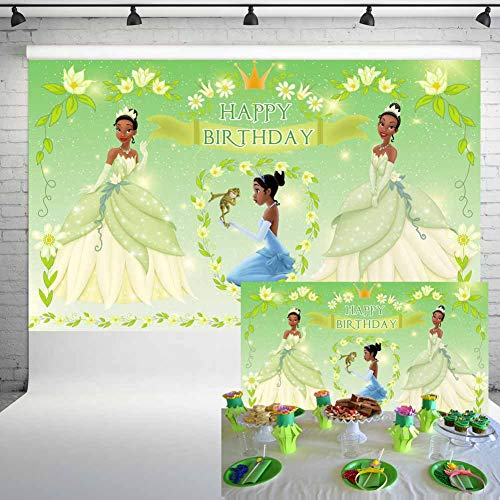 Princess and The Frog Backdrop Tiana Party Supplies Photography Background 5x3ft Baby Shower Girl Birthday Party Cake Table Banner Decoration 47