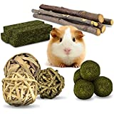 KATUMO Bunny Chew Toys, Natural Apple Wood Sticks Organic Timothy Hay Balls Grass Cakes Chinchilla Guinea Pig Hamster Pet Toy Accessories for Rabbit Squirrel Gerbil Small Pets Chewing and Teeth Care