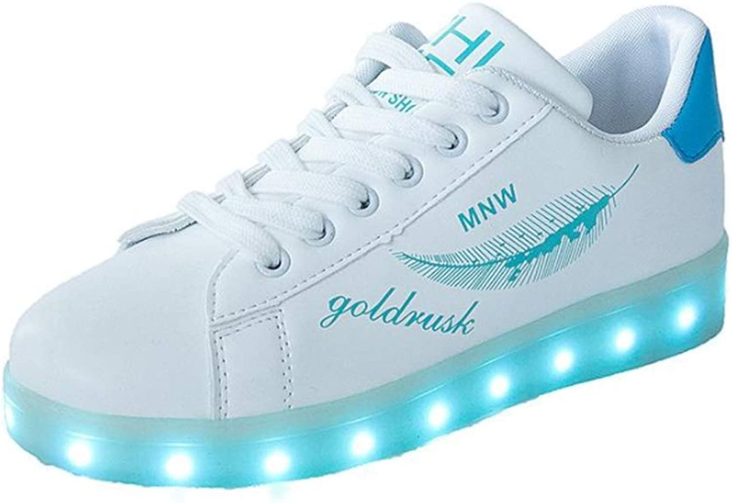 Men's and Women's Radiant shoes LED Flashing Sneakers USB Charging Flash shoes (color   B, Size   42EU)