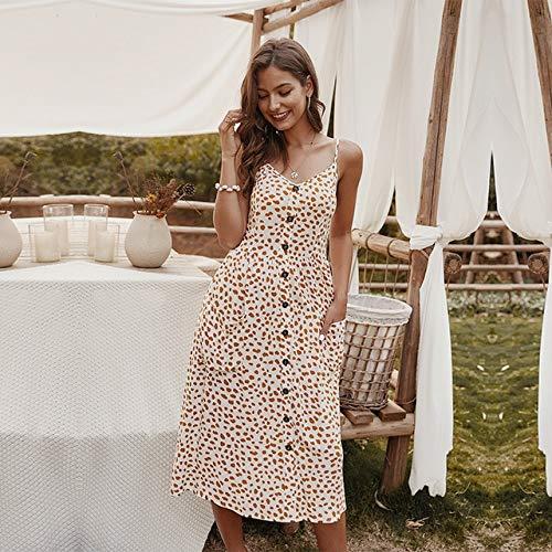 Generic Brands Femmes Robe mi-Longue sans Manches Bureau Lady Button V Neck Robe d'été imprimée XL Blanc