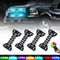 LED Grill Lights RGB Color - 4 Pods Front Grille Light - Smartphone APP Control/Music/Timing/Flashing Strobe Modes for Ram F150 F250 F350 F450 F550 Tacoma TRD PRO Front Truck