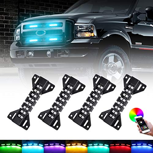 LED Grille Lights RGB Color - 4 Pods Front Grill Light - Smartphone APP Control/Music/Timing/Flashing Strobe Modes for Ram F150 F250 F350 F450 F550 Tacoma TRD PRO Front Truck
