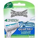 Wilkinson Sword Quattro Titanium Sensitive Rasierklingen für Herren Rasierer, 5 Stück -