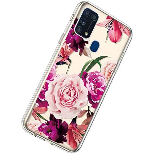 Herbests Kompatibel mit Samsung Galaxy M31 Hülle Silikon Weich TPU Handyhülle Durchsichtige Schutzhülle Niedlich Muster Transparent Ultradünn Kristall Klar Handyhülle,Rose Blume