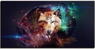 Jgophu Pintura de la Lona Arte de la Pared Cartel Decoración del hogar Carteles e Impresiones Abstract Wolf Pictures for Living Room 50x100cm