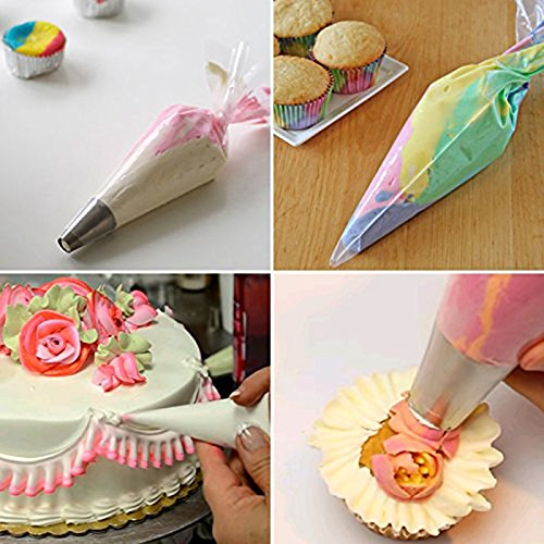 CRIVERS 100pc Disposable Pastry Bags(Extra Thick)16Inch & 12Inch Large Cake Cupcake Cookie Decorating Bags, Icing Piping Bags with 6PCS Icing Bags Ties for All Size Tips Kit Baking Supplier Tool