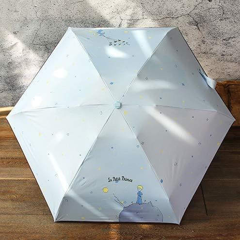 DJMJHG Paraguas de Bolsillo de Calidad para Mujer Paraguas Plegables de Moda soleados y lluviosos Paraguas del Principito para niños Viaje,príncipe Azul Claro